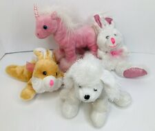 Lot of 4 Plush Stuffed Animal Unicorn 2 Bunnies Dog Poodle (Webkinz) Soft Fun