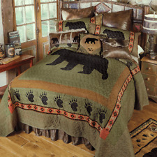 BLACK BEAR PAW Cal King QUILT SET : LODGE CABIN COUNTRY MOUNTAIN SOUTHWESTERN