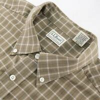 L.L. Bean Mens XXL Long Sleeve Button Down Shirt Plaid Brown Cotton FLAW