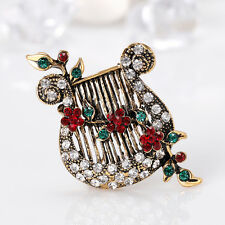 Women's Vintage Flower Vine Lyre Music String Brooch Pin Breastpin Gift Fashion