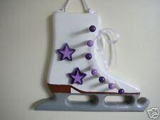 Wooden Ice Skate Medal Display, Lavender/Deep Purple