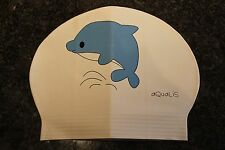 New in Bag AQUALIS Adult WHITE with BLUE DOLPHIN print Latex Swim Cap - Swimming