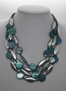 Marks & Spencer Teal Shell Style Disc & Silver Tone Multi Strand Necklace