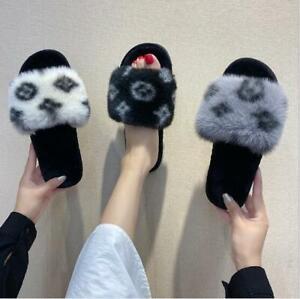 Women Ladies Fluffy Faux Fur Comfort Warm Indoor Girl's Slippers Open Toe