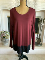 Sz XL Vince Camuto Maroon Rayon Blend Knit Shirt Black Lace Long Sleeves NWOT