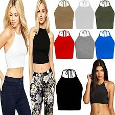 Womens Halter Neck Tie Back Crop Top Ladies Sleeveless Cami Fancy Strap Blouse