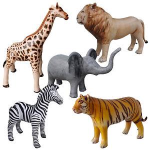 Jet Creations Safari Inflatable Plush Stuffed Animal 5 Pack Giraffe Zebra Elepha