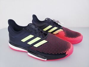 Adidas SoleCourt Boost Tennis Shoes Black/Yellow/Red Men's Size 10.5 AH2131 New