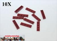10X Lego® 3710 Basic Platten Plate 1X4 Dunkelrot Dark Red Neu 4539061