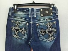 WOMENS MISS ME JEANS HEART CROSS RHINESTONE POCKET SIZE 26X33 MED WASH NEW BOOT