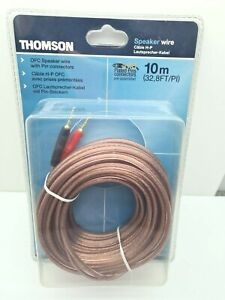 THOMSON OFC SPEAKER WIRE 10 METRE GOLD PLATED PINS CONNECTORS PURE COPPER