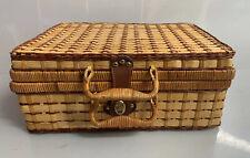 Rattan Suitcase Picnic Basket Wicker Vintage Woven Storage 1970s