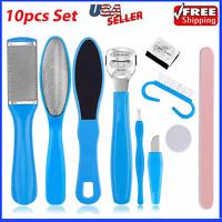 10pcs CALLUS Remover Pedicure Rasp Foot File Scraper Brush Nail Care Tool Set Ki