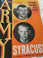 Army vs Syracuse Football Program September 29 1962