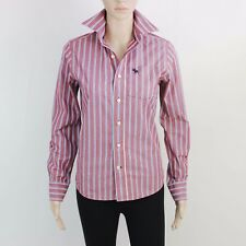 A&F Womens Size M uk 8 Abercrombie Burgundy Stripe Long Sleeve Shirt