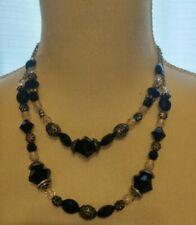 Retired Premier Designs 2 strand Black/Silvertone & Clear Beaded Choker