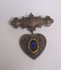 VINTAGE Hanging Heart COPPER PIN / BROOCH with blue stone  *
