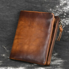 Cowhide Leather Mens Billfold Wallet RFID Blocking Card Holder Zipper Coin Purse