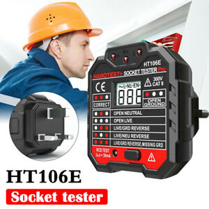 UK Plug Professional Socket Tester RCD Leakage Switch Detector Tool LCD Screen