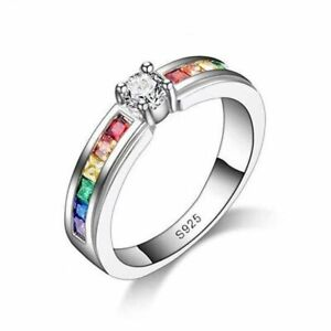 925 Silver Cubic Zircon Rainbow Promise Ring Engagement Wedding Jewelry Gift New