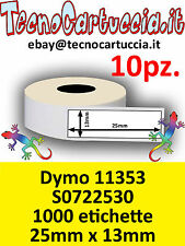 10 X Rotoli Etichette Compatibili Dymo 11353 S0722530 25 mm x 13 mm Twin Turbo