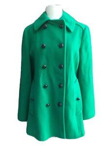 Mackintosh Womens Emerald Green 100% Wool Peacoat Overcoat Size 10 Medium Lined