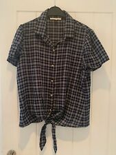 ANTHROPOLOGIE LADIES DESIGNER NAVY BLUE WHTE CHECK PUFF SLEEVE BLOUSE SHIRT NEW