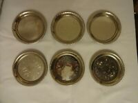 Vintage Silver Plated Wine Glass Coasters x 6 Diameter 9.5 cm