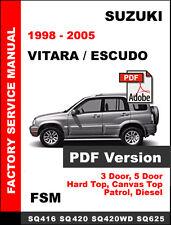 SUZUKI VITARA ESCUDO 1998 - 2005 FACTORY OEM SERVICE REPAIR WORKSHOP FSM MANUAL