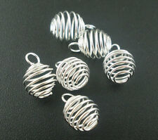 100 Silver Plated Spiral Bead Cages Pendants 8x9mm