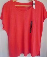 NWT Gap Women's Linen Blend SS T-Shirt Top Pink XS S M L XL Free Shipping New