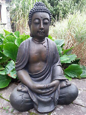 XL Gro�Ÿer Buddha sitzend braun ca. 70 cm Figur Feng Shui Skulptur Lotus ASIA NEU