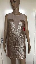 LASHES del 14 Regno Unito, LONDON, UE 40, Oro Paillettes breve/mini abito, Nuovo con Etichetta, prezzo consigliato £ 65