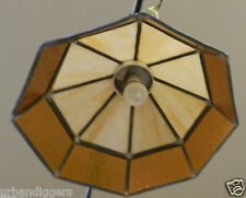 8660// Vintage Tiffany Style Slag Glass ~ Hanging Kitchen Light ~ Estate MCM