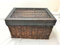 VINTAGE WOODEN WICKER BASKET BOX (T3)