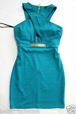 NWT bebe blue gold belt raceback bustier cutout bodycon top dress L large 10