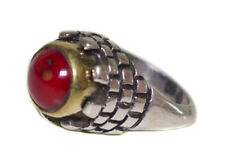 925 Sterling Silver Unisex Uniqe Unique perfect Ring, Red Coral Natural Gemstone