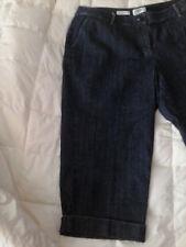 TALBOTS NWT $88 16 CAPRI Length JEANS Stretch Navy Blue Denim with Cuffs