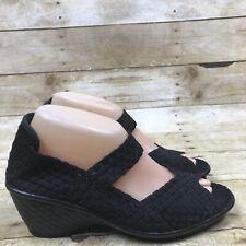 Bernie Mev Shoe Black Women's Casual Woven Open Toe Wedge Size 39 US 8.5