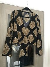Missguided Printed Black Paisley Tie Front Top Dressy Celeb On Trend Size UK 8