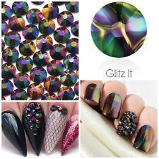 Swarovski x 50 MIXED SIZE Rainbow Dark Crystals Rhinestones GLUE ON Nail Costume