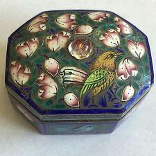 Argent Antique enamel Chinese snuff box Bonne Qualité oiseaux détaillé 4.5 cm x 4 cm