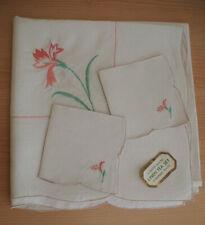 Vintage Embriodered Linen Tablecloth Napkin Set Floral Art Deco Square