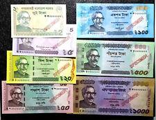 Bangladesh 2,5,20,50,100,500&1000 Taka (SPECIMEN) BankNote(+FREE 1 B/note)#D3694