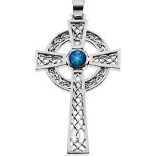 Blue Star Sapphire Cross Pendant In 14K White Gold
