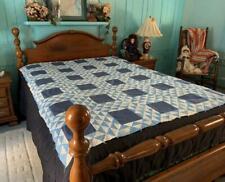 Vintage Ocean Waves Quilt Top Cadet Blue Medium Blue 68 x 80