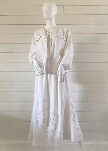 COTTAGE CLOTHING INC Women's  Classic Linen Two-Piece Suit-Skirt Size M White