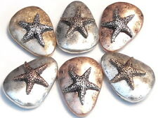 6 - 2 HOLE SLIDER BEADS TRIANGULAR MIXED METALS HAMMERED LOOK STARFISH, SEA STAR