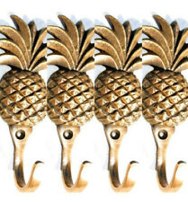 "4 small PINEAPPLE BRASS HOOK COAT WALL MOUNTED HANG TROPICAL old style hook 4"" B"