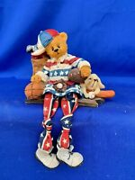 Vintage SPORTS LOVER USA Teddy Bear & Dog Doll Anthropomorphic Shelf Sitter ❤️